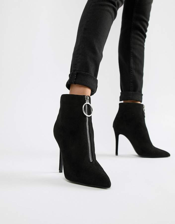 66fd16eb68f Zip Front Pointed Ankle Boots
