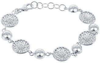 La Preciosa La Preicosa Sterling Silver Half-Bead and Flower Circle Link Bracelet