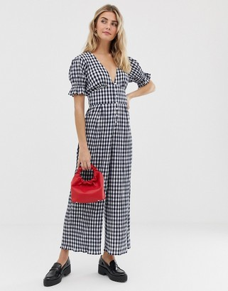 Asos Design DESIGN gingham jumpsuit with puff sleeves-Blue