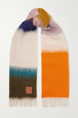 Loewe Leather-trimmed Fringed Striped Mohair-blend Scarf - Orange