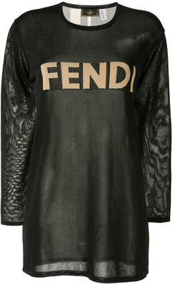 Fendi Pre Owned logo mesh T-shirt