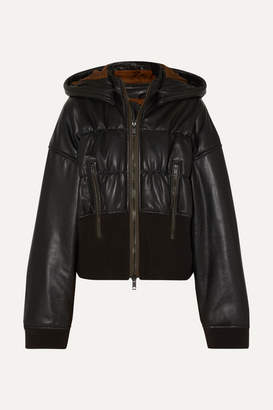 Haider Ackermann Ruched Leather And Cotton-blend Jacket - Black