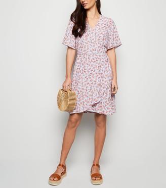 New Look Light Ditsy Floral Wrap Mini Dress