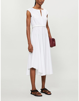 Max Mara Grecian cotton-poplin midi dress