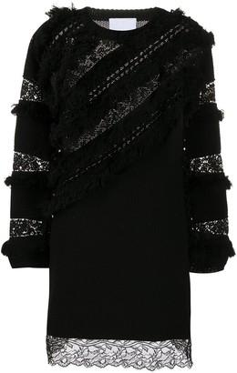Koché Lace-Embellished Knitted Dress