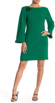 Trina Turk Engaging Bell Sleeve Mesh Back Dress