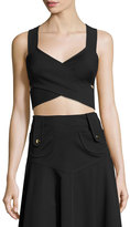 Derek Lam Crisscross Cropped Sleeveless Top, Black
