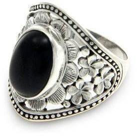 Novica Handmade Sterling Silver Frangipani Mystery Onyx Ring