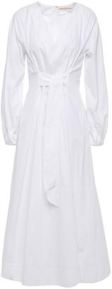 Mara Hoffman Vivica Tie-front Pleated Cotton-poplin Midi Dress