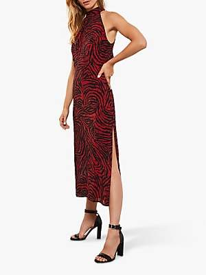 Mint Velvet Naomi Zebra Print Maxi Dress, Red/Multi