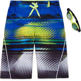 ZeroXposur Boys Digit Stripes Swim Trunks-Big Kid
