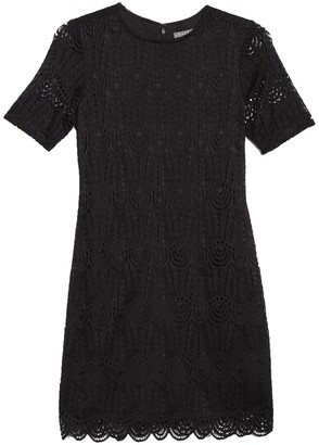 Sharagano Short Sleeve Lace Trimmed Dress (Petite)