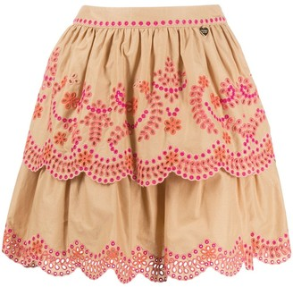 Twin-Set Ruffled Floral-Embroidered Skirt