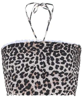 Ganni Leopard-print bandeau bikini top