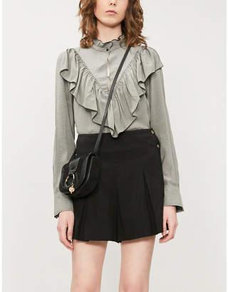 See by Chloe Ruffled striped high-neck poplin blouse