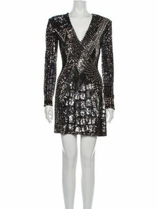 Balmain V-Neck Mini Dress Metallic