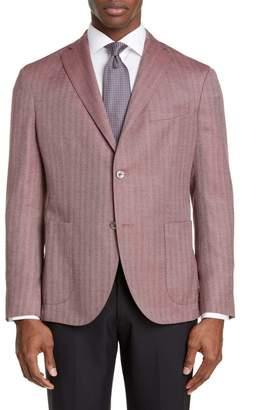 Boglioli Slim Fit Herringbone Wool & Silk Sport Coat