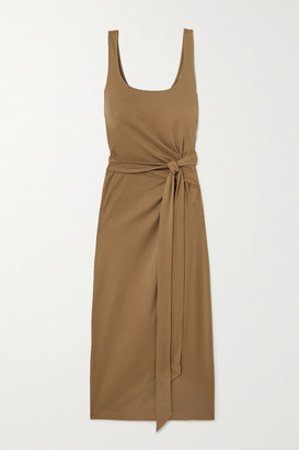 Vince Pima Cotton-jersey Wrap Midi Dress - Beige