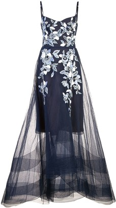 Marchesa Long Flared Dress
