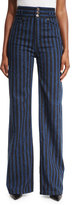 Marc Jacobs Striped High-Waist Wide-Leg Jeans, Indigo