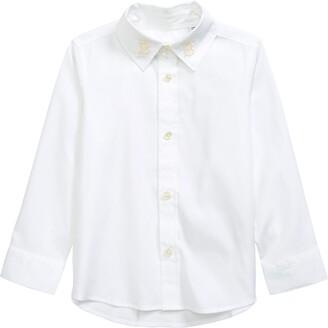Burberry Kids' Nyles Monogram Motif Stretch Poplin Button-Up Shirt