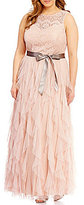 Teeze Me Plus High-Neckline Lace Bodice Corkscrew Skirt Long Dress