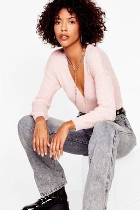 Nasty Gal Womens Wrap of the World Plunging V-Neck Jumper - Pink - M, Pink