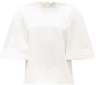 Tibi Celia Cape-sleeve Technical-satin Top - Ivory