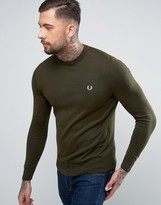 Fred Perry Crew Neck Cotton Jumper In Green