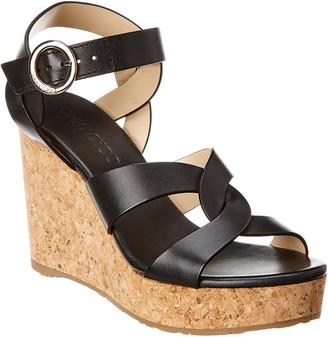 Jimmy Choo Aleili 100 Leather Wedge Sandal