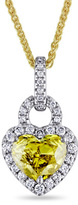Zales 1-1/4 CT. T.W. Enhanced Yellow and White Heart-Shaped Diamond Frame Pendant in 14K Two-Tone Gold