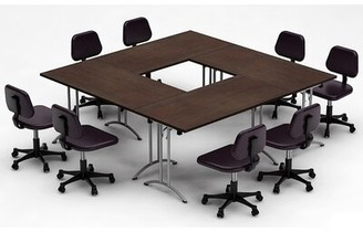 Meeting Seminar 4 Piece Square Conference Table Set Team Tables Top Finish: Java