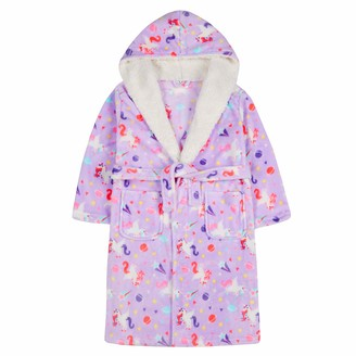 MiniKidz & 4Kidz Childrens/Girls Lilac Unicorn Print Dressing Gown (5-6 Years)