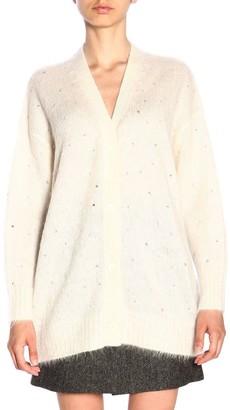 Miu Miu Maxi Cardigan In Mohair Wool With Rhinestones