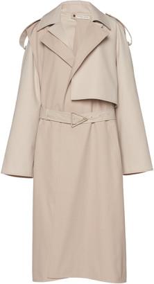 Bottega Veneta Removable Sleeve Crepe Trench Coat
