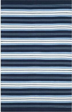 Lauren Ralph Lauren Leopold Stripe Handwoven Flatweave Navy/White Area Rug Rug Size: Rectangle 4' x 6'