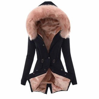 Canifon Coats Fur Lining Thick Hooded Slim Coat Windbreaker Retro Long Sleeve Warm Winter Canifon Women's Coats Outdoor Jackets