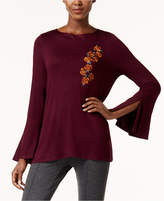 Cable & Gauge Embroidered Bell-Sleeve Top