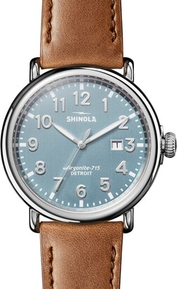 Shinola Runwell Leather Strap Watch, 47mm