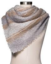 Merona Women's Plaid Scarf Gray and Cream Stripe