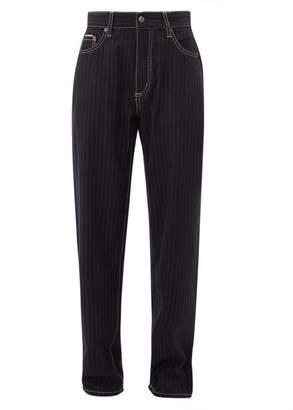 Eytys Benz Pinstripe Wool-blend Trousers - Womens - Navy