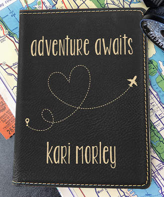 Stamp Out Online Passport Holders black - Black & Gold 'Adventure Awaits' Personalized Passport Cover