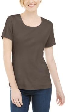 Karen Scott Short Sleeve Scoop Neck Top, Created for Macy's