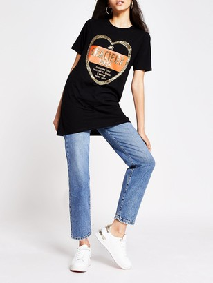 River Island Gracieux Jumbo T-shirt - Black