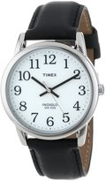 Timex Men's T20501 Easy Reader Silver-Tone Leather Watch