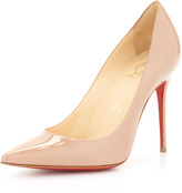 Christian Louboutin Decollete Patent Leather Red Sole Pump, Nude