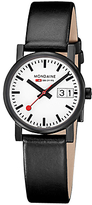 Mondaine A6273030561SBB Unisex Leather Strap Watch, Black/White