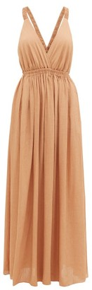 Matteau The Crossback Plunge Maxi Dress - Light Brown