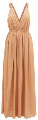 Matteau - The Crossback Plunge Maxi Dress - Womens - Light Brown