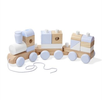 Melissa & Doug Wooden Jumbo Stacking Train 3-Color Natural Wooden Toddler Toy (17 pcs)